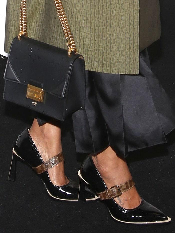 Zoe Saldana's tattooed feet in Fendi black-patent neoprene Mary-Jane pumps