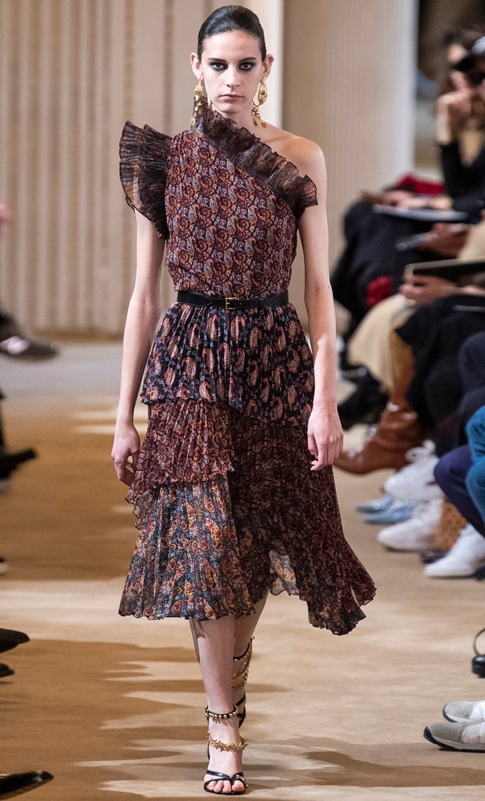 Altuzarra Kamala Paisley-Print One-Shoulder Chiffon Dress