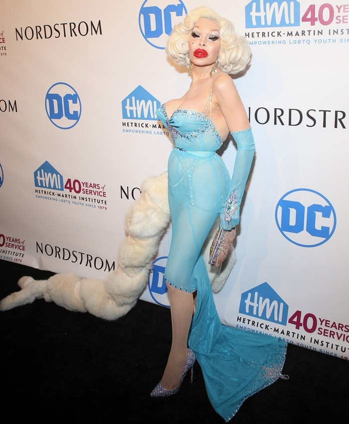 American transgender model Amanda Lepore with her trademark blowfish red lips