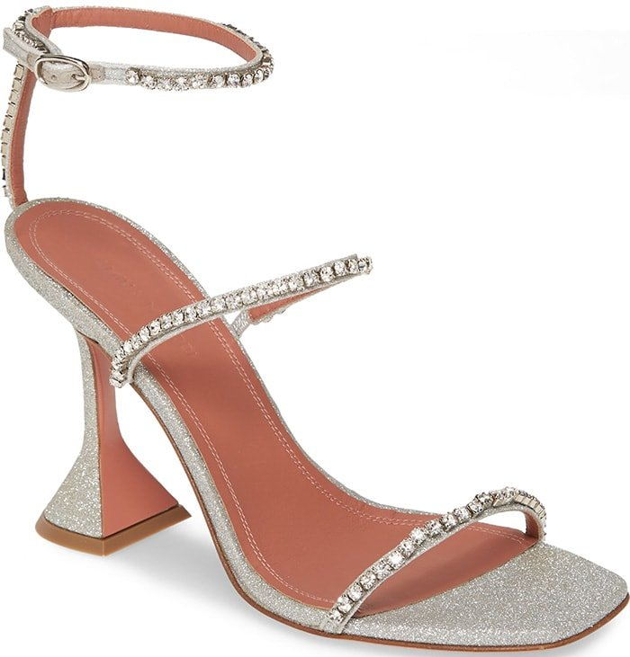 AMINA MUADDI glittered faux-leather (polyurethane/polyester) sandals with crystal trim