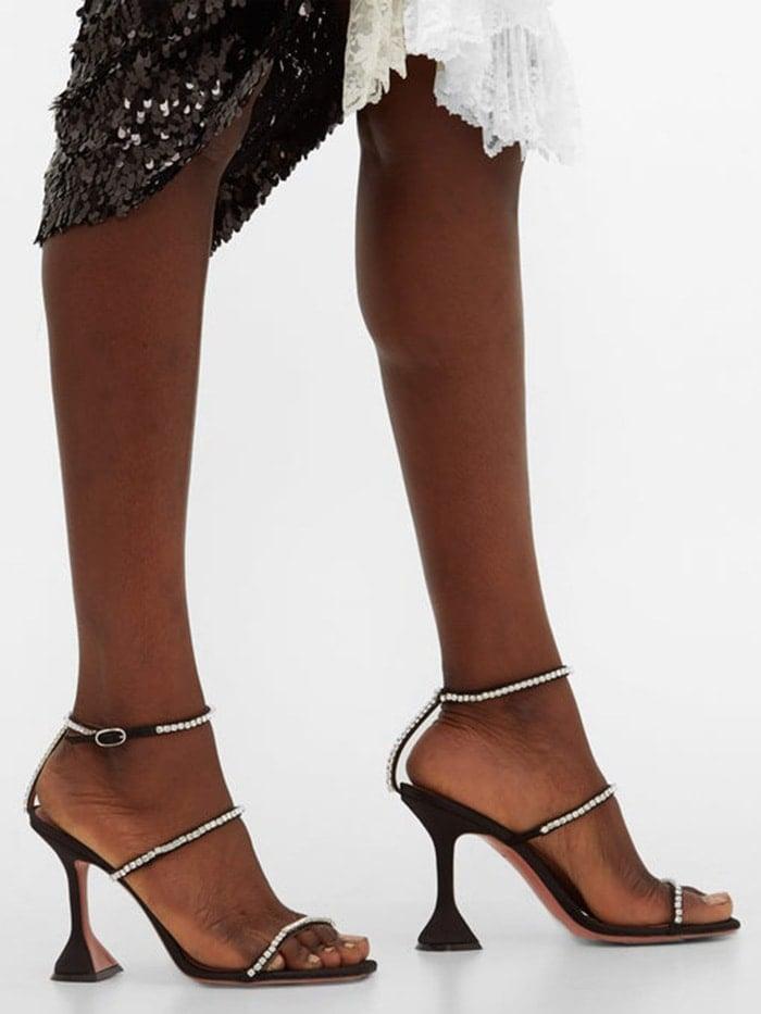 AMINA MUADDI Gilda embellished satin sandals
