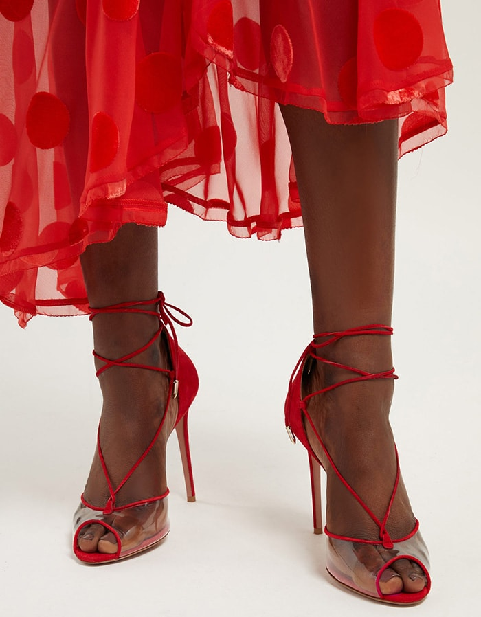 Slim leather laces wrap elegantly around the ankle and they sit on a graceful stiletto heel