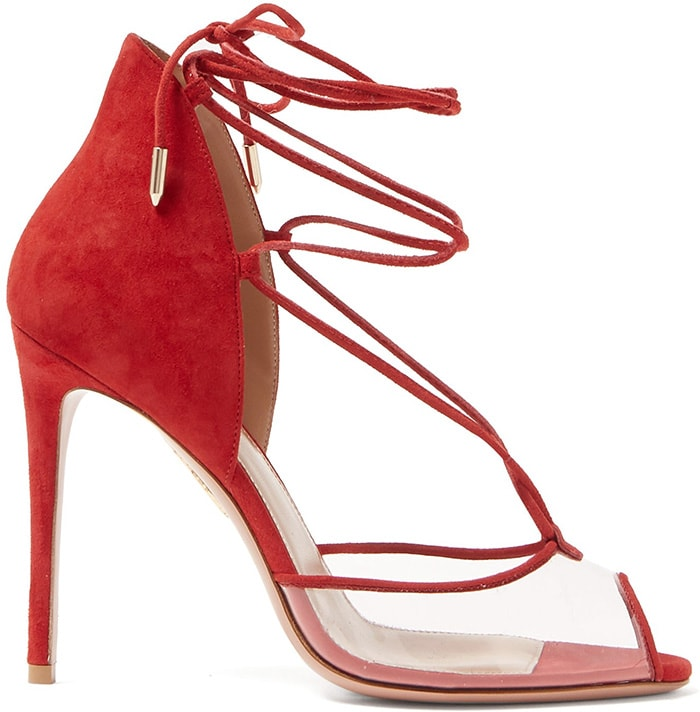 Expertly crafted in Italy, Aquazzura's red suede Magic Peep Toe sandals feature a delicately curved heel counter and a contemporary skin-baring transparent PVC front strap