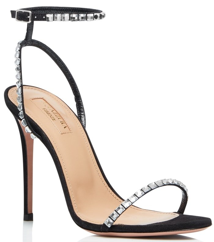 In a barely-there strappy silhouette, these black suede sandals are accented with sparkling crystal trim