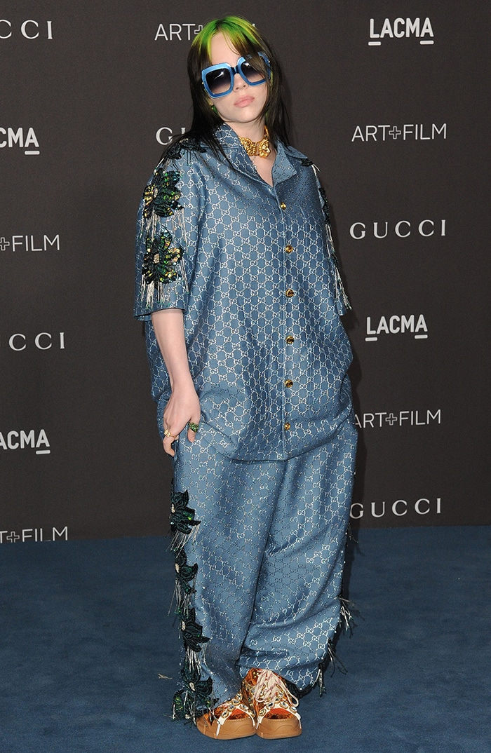 Billie Eilish chooses a more casual look in Gucci pantsuit