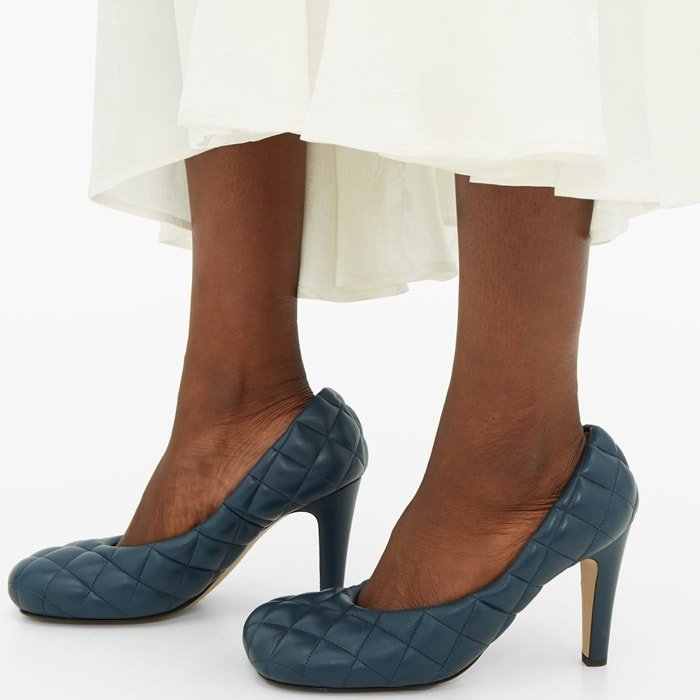 These quilted leather pumps are made in Italy to an exaggerated square-toe silhouette that rests on a high heel