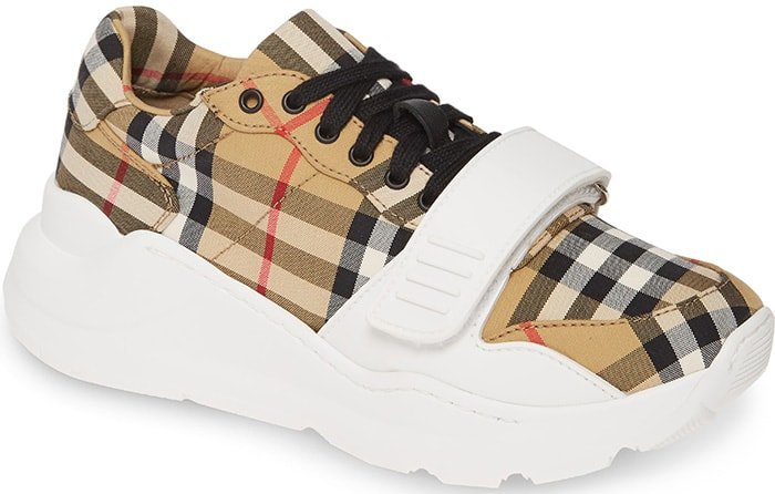 Burberry Beige Check 'Regis' Sneakers