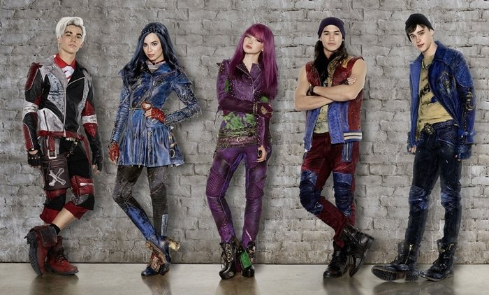 Cameron Boyce, Sofia Carson, Dove Cameron, Booboo Stewart, and Mitchell Hope on the set of Descendants 2, an American musical fantasy television film