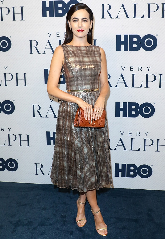 Camilla Belle opts for a Ralph Lauren vintage-inspired sequin-embellished plaid dress
