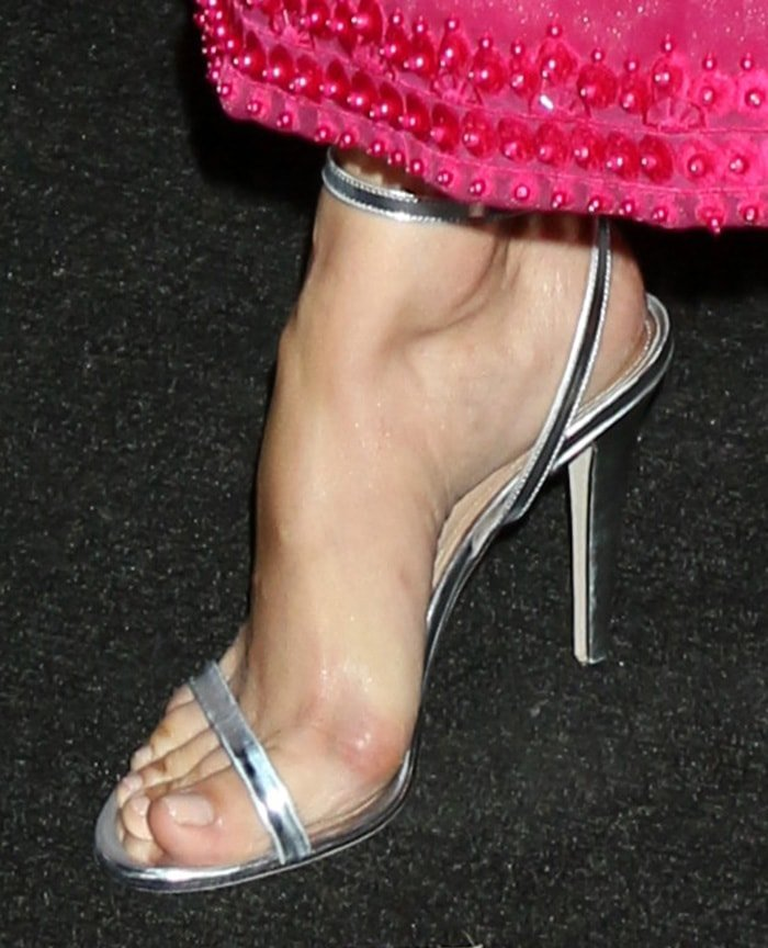 Camilla Belle displays her sexy feet in Tamara Mellon sandals