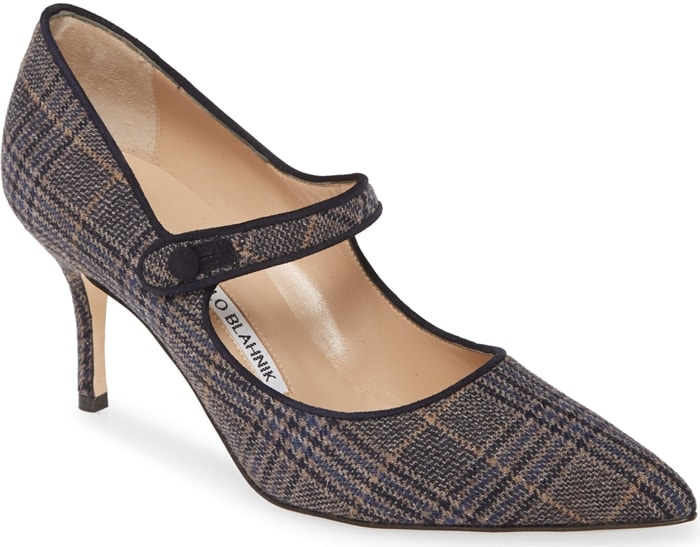 Tonal suede trims the retro-plaid exterior of this mary jane pump lifted by a modest heel with a button strap and bewitching pointy toe perfecting the style
