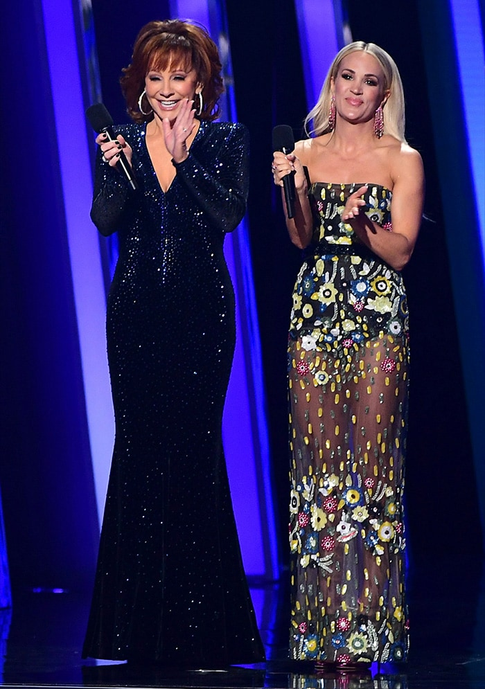 Carrie Underwood wears a Berta Couture sheer embellished gown