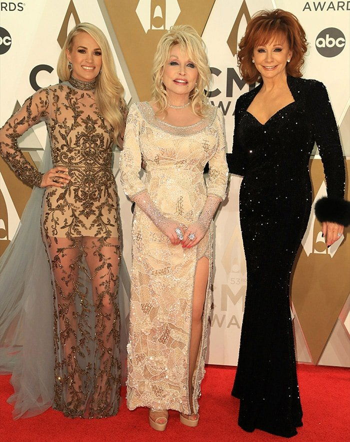 Carrie Underwood, Dolly Parton and Reba McEntire co-host the 53rd Annual CMA Awards in Nashville on November 13, 2019