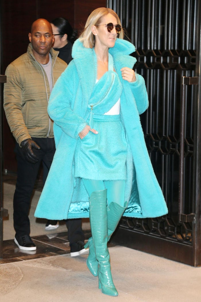 Celine Dion wearing turquoise boots