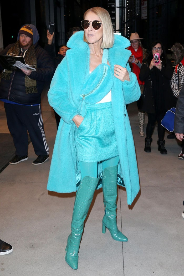 Celine Dion in a turquoise Max Mara outfit
