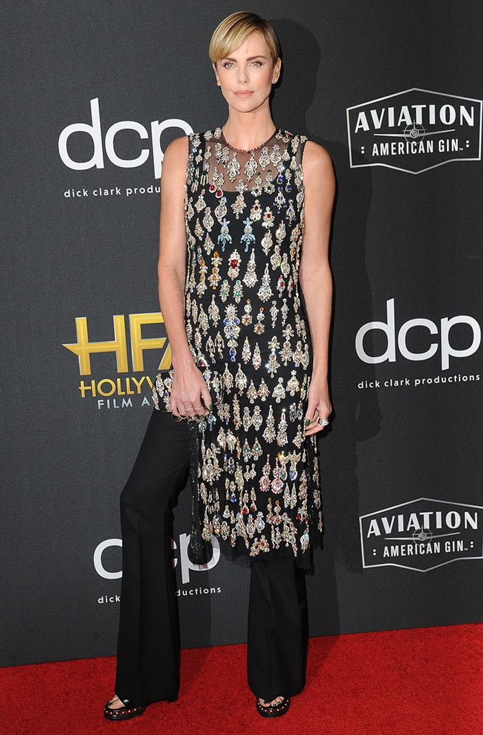 Charlize Theron picks up the Hollywood Career Achievement Award at the 23rd Annual Hollywood Film Award held at the Beverly Hilton Hotel in California on November 3, 2019