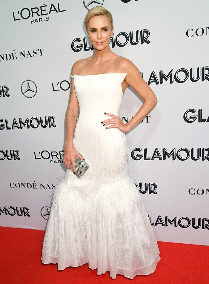 Charlize Theron receives the Rebel Award at the 2019 2019 Glamour Women of the Year Awards in New York City on November 11, 2019