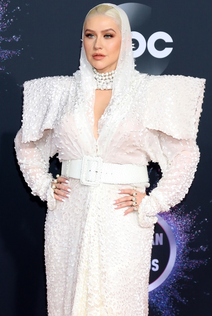 Christina Aguilera looked like a sexy nun with cardboard shoulder pads