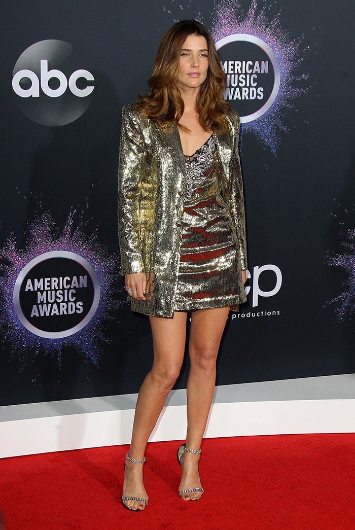 Cobie Smulders sparkles in gold sequin Dundas mini dress and blazer