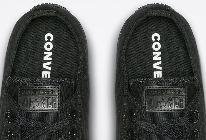 The inner soles of black Converse All Star shoes