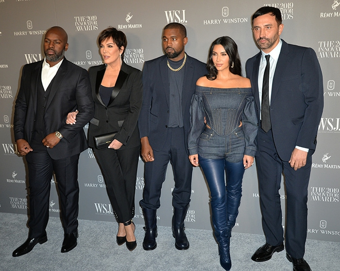 Corey Gamble, Kris Jenner, Kanye West, Kim Kardashian and Riccardi Tisci pose together at the WSJ Innovator Awards in New York City