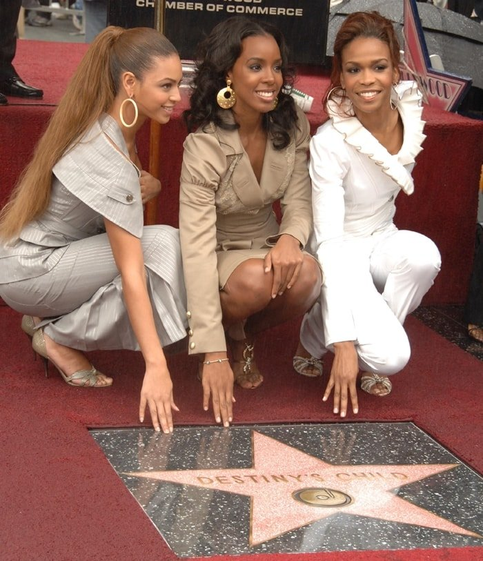 Michelle Williams, Beyonce and Kelly Rowland of Destiny's Child are honored with a Star on the Hollywood Walk of Fame