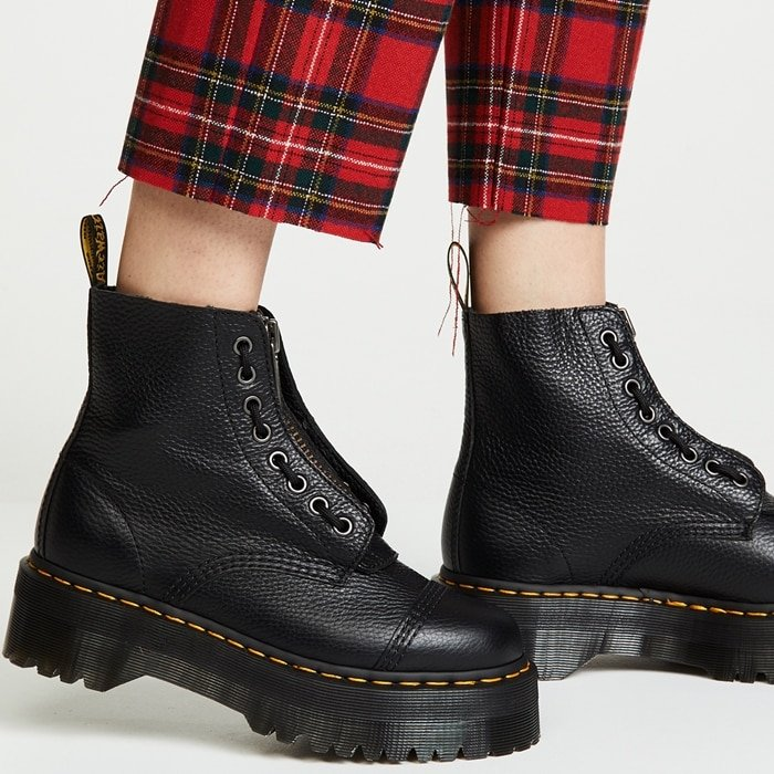 Dr. Martens Sinclair Quad retro boots with red tartan tailored drop trousers
