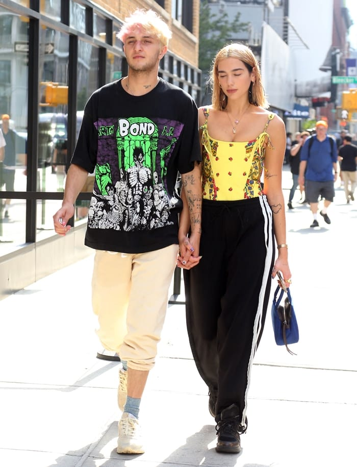 Dua Lipa out with boyfriend Anwar Hadid in the SoHo neighborhood of New York City