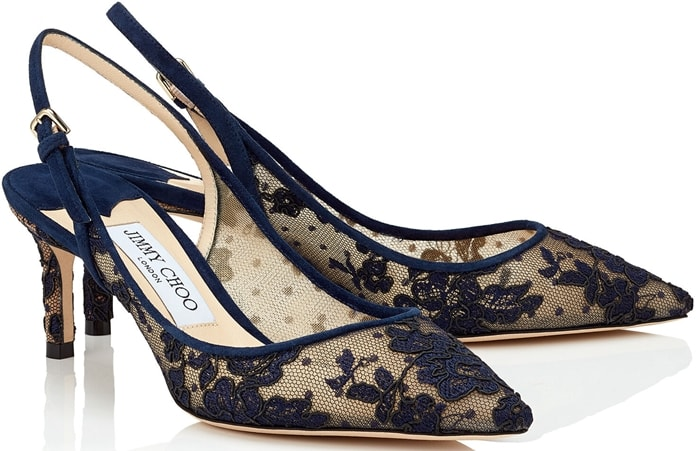 The Erin pointy slingback pump in navy floral lace is a classic silhouette with modern appeal