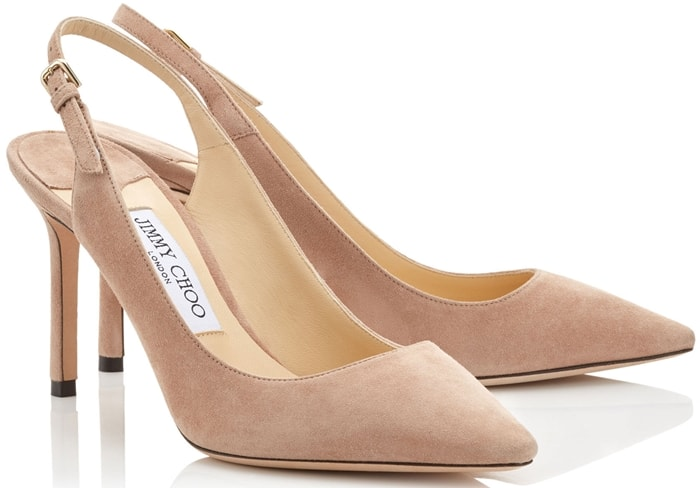The Erin pointed sling-back pump in ballet pink suede is a classic silhouette with modern appeal