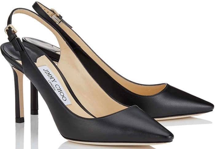 The Erin pointed sling-back pump in black kid leather is a classic silhouette with modern appeal
