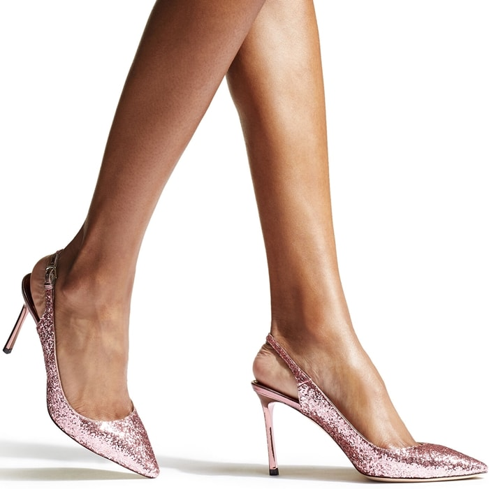 The Erin pointy slingback pump in candyfloss galactica glitter is a classic silhouette with modern appeal