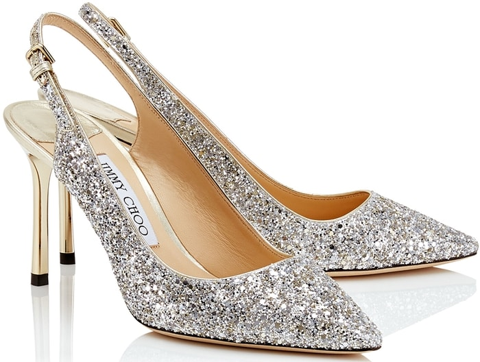 The Erin pointy slingback pump in champagne coarse glitter is a classic silhouette with modern appeal