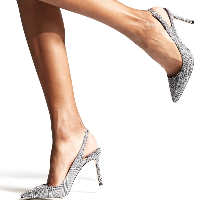 The Erin pointed slingback pump in silver prince of stars glitter is a classic silhouette with modern appeal