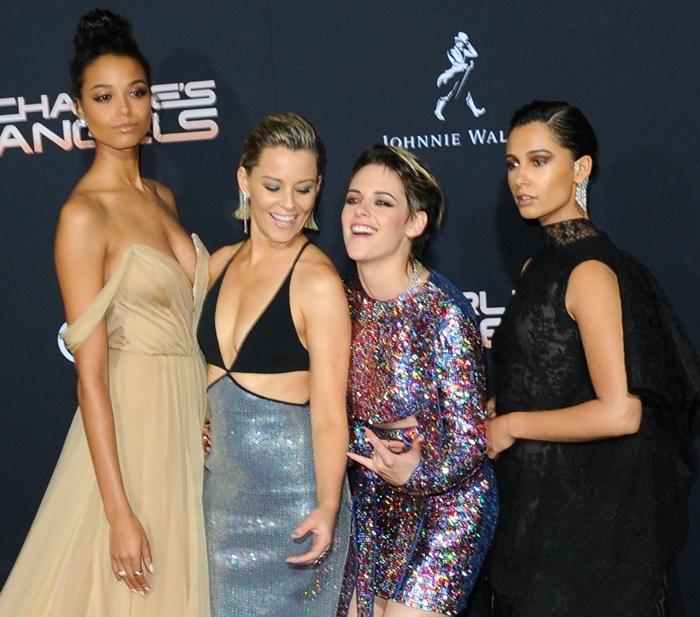 Kristen Stewart in Germanier, Naomi Scott in Givenchy, Ella Balinska in Vera Wang, and Elizabeth Banks in David Koma