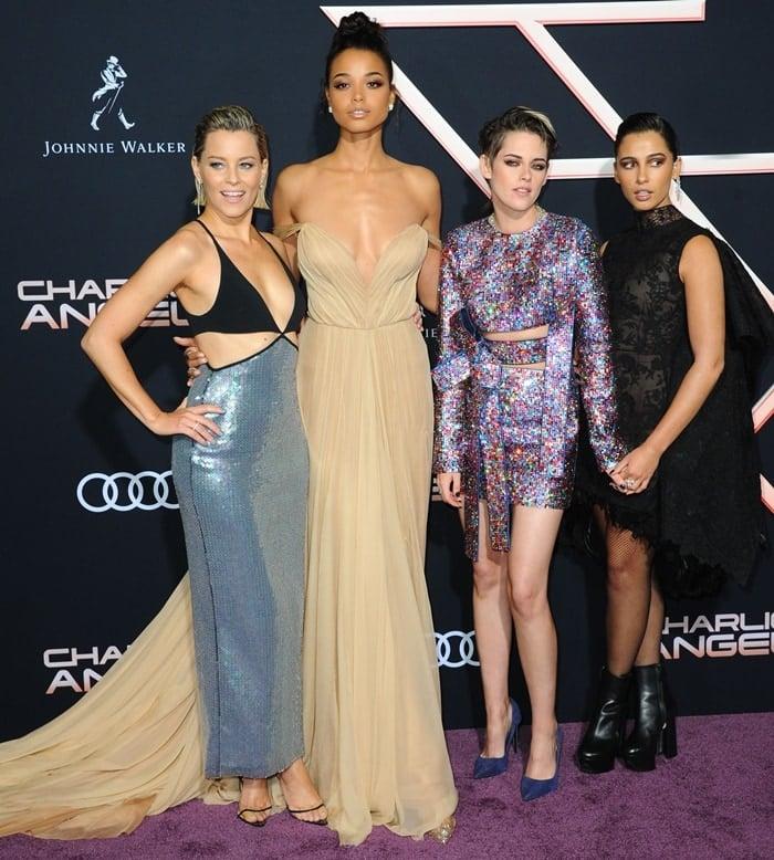 Kristen Stewart, Naomi Scott and Ella Balinska were joined director Elizabeth Banks at the premiere of Charlie's Angels