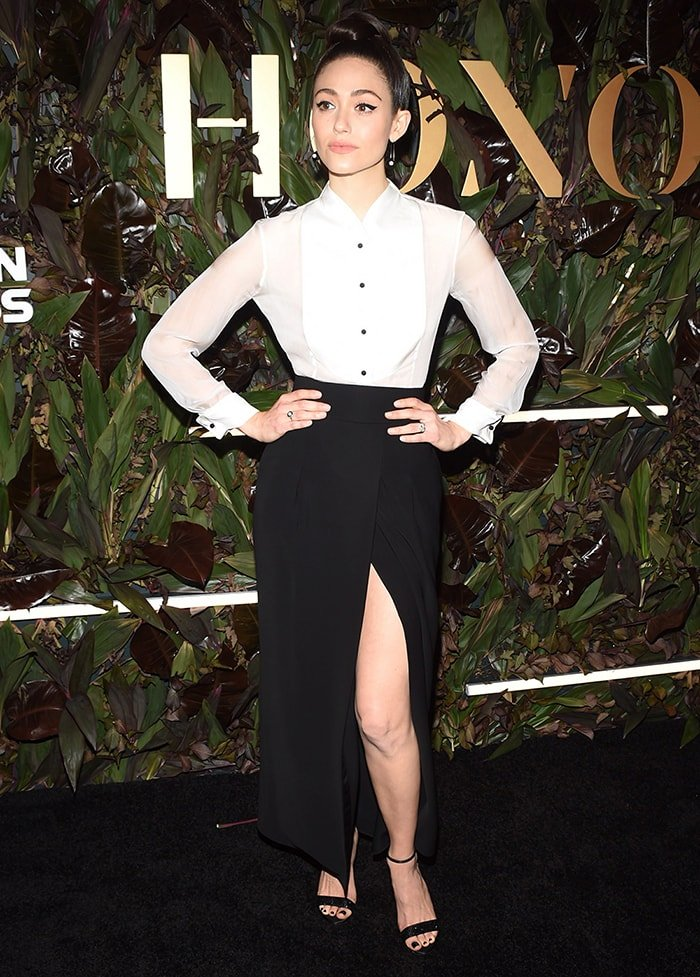 Emmy Rossum in Giorgio Armani white blouse and skirt