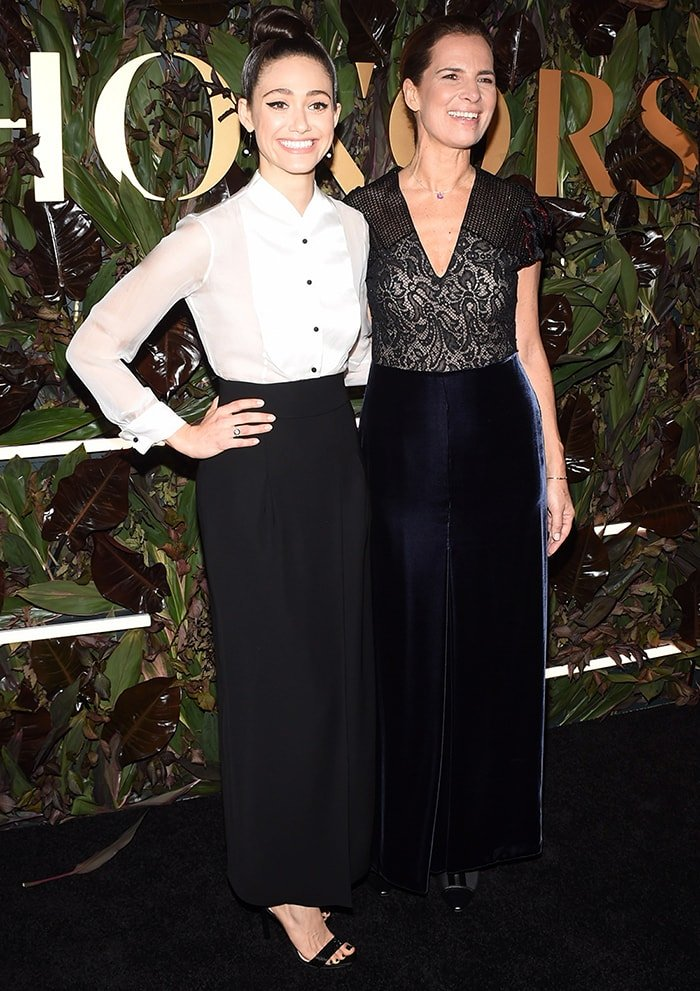 Emmy Rossum with Giorgio Armani's niece Roberta Armani at the 2019 WWD Honors