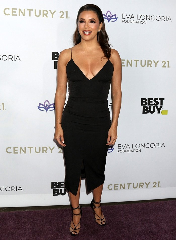 Eva Longoria shows off her cleavage in Bianca and Bridgett cocktail dress