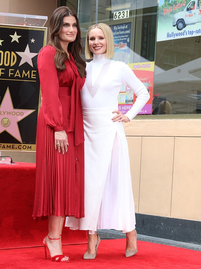 Idina Menzel and Kristen Bell at the Hollywood Walk of Fame on November 19, 2019