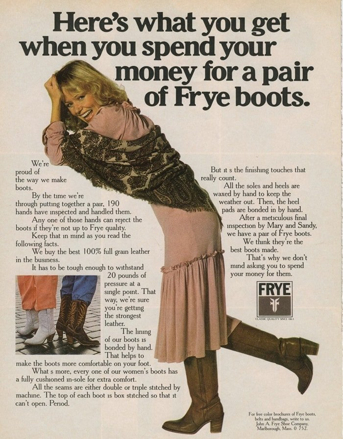 A 1978 advertisement for The Frye Company, a manufacturer of shoes, boots, and leather accessories founded in 1863