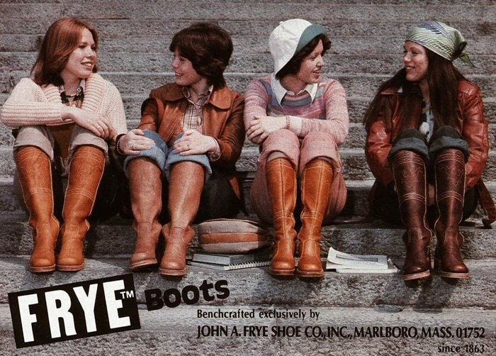 A 1976 Frye advertisement for the iconic Campus boot that was reintroduced in the 1960s based on the original from the 1860s
