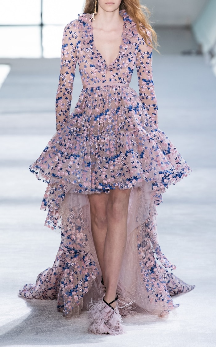 Giambattista Valli Floral Embroidered Organza Gown