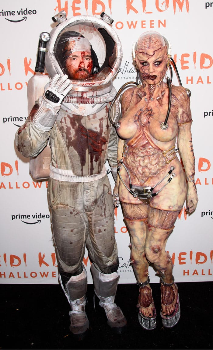 Tom Kaulitz as a bloodied astronaut who was attacked and killed by alien Heidi Klum