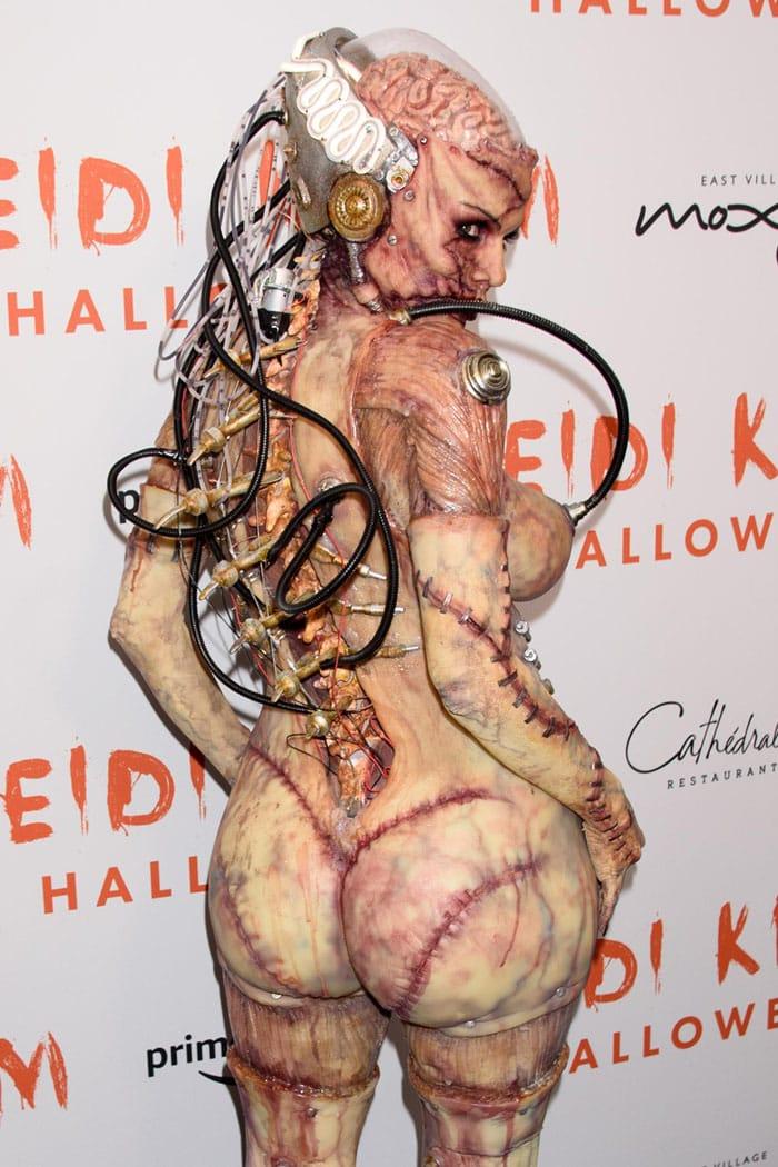 Heidi Klum dressed as an alien experiment gone wrong