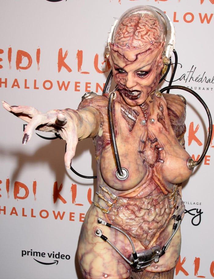 Heidi Klum aka Queen of Halloween as a creepy and gory alien