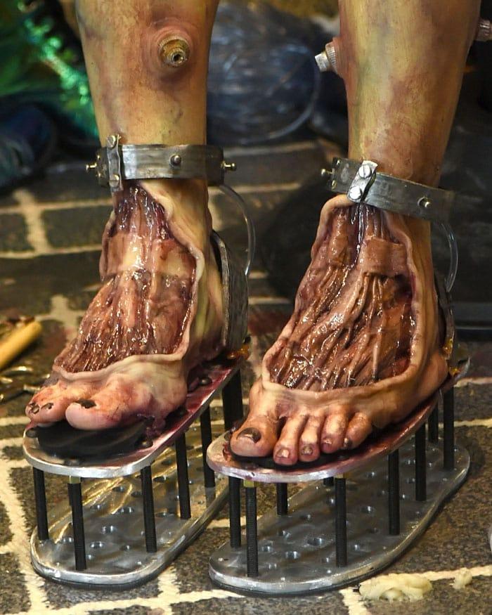 Heidi Klum's sliced-open alien costume feet glued onto metal-plate screw-platform shoes