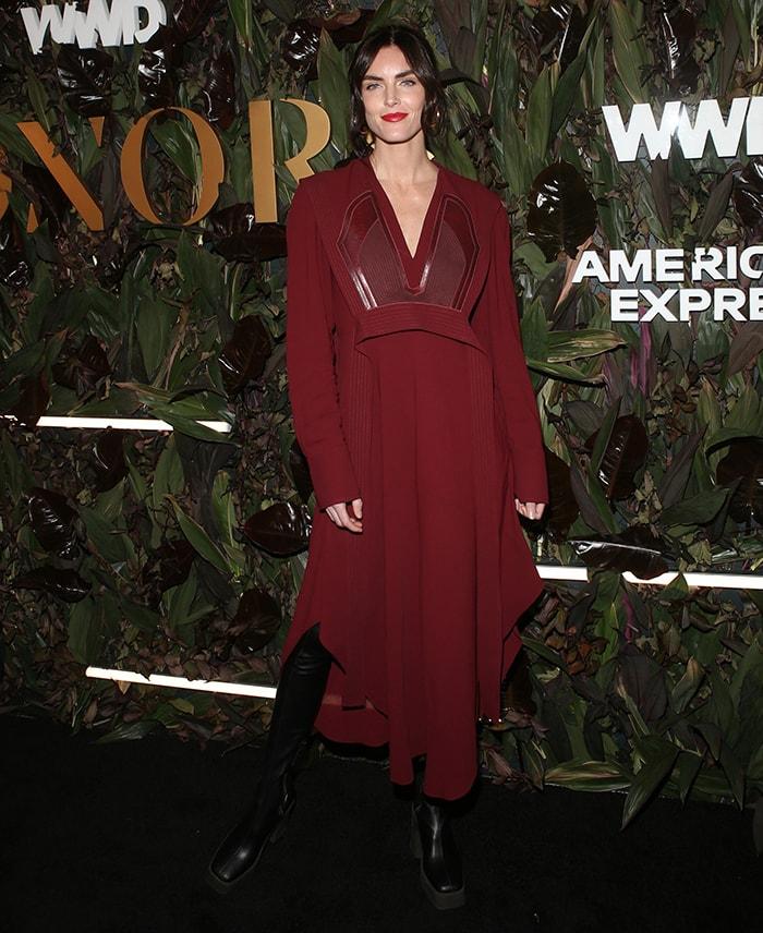 Hilary Rhoda opts for an ensemble fresh off the Stella McCartney fall 2019 runway