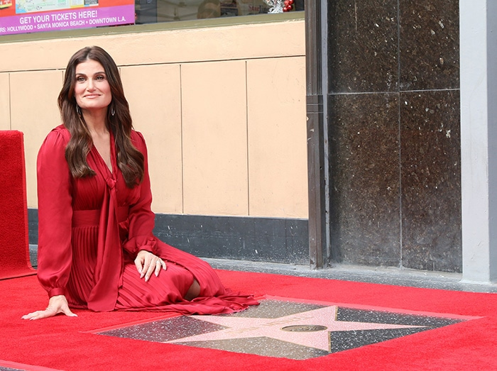 Idina Menzel wears soft makeup with her tresses styled in voluminous waves over her shoulders