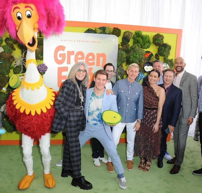"Diane Keaton, Adam DeVine, Jared Stern, Ellen DeGeneres, Ilana Glazer, Netflix CCO Ted Sarandos, Jeff Kleeman, and Keegan-Michael Key attend the premiere of Netflix's ""Green Eggs And Ham"""
